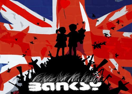 BANKSY - GUN HILL - UK flag canvas print - self adhesive poster - photo print